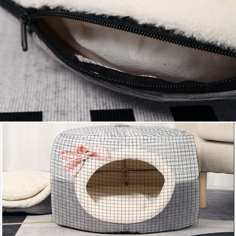 2 in 1 Cats House Winter Cat Bed Indoor Cute Kitten Cave Mat Sleep Bag for Small Dogs Beds Foldable Pet Cat's Nest Window Supplies