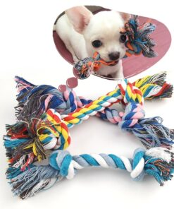 1 Pcs Dog Bite Rope Toys Pets Dogs Supplies Pet Dog Puppy Cotton Chew Knot Toy Durable Braided Bone Rope Funny Tool Random Color