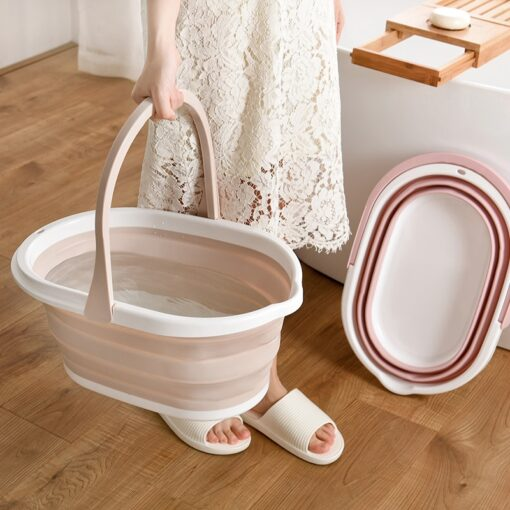 Folding Bucket Camping Wash Bucket With Handle Collapsible Floor Mop Cleaning Fishing Car Wash Bucket Household Tool