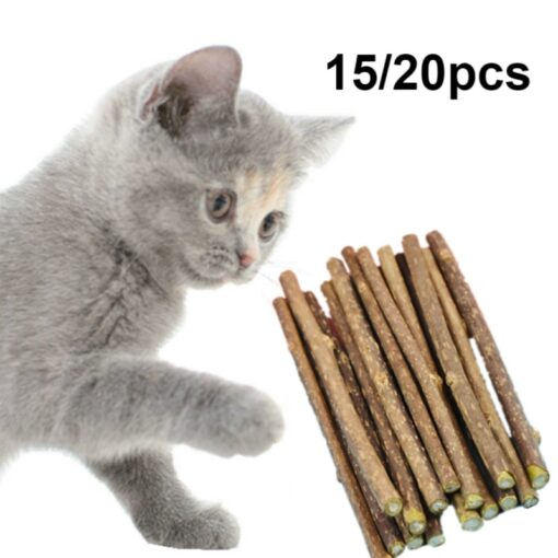 20 PCS Pure Natural Pet Cat Toy Safety Molar Toothpaste Branch Cleaning Teeth Cat Snacks Sticks Pet Supplies
