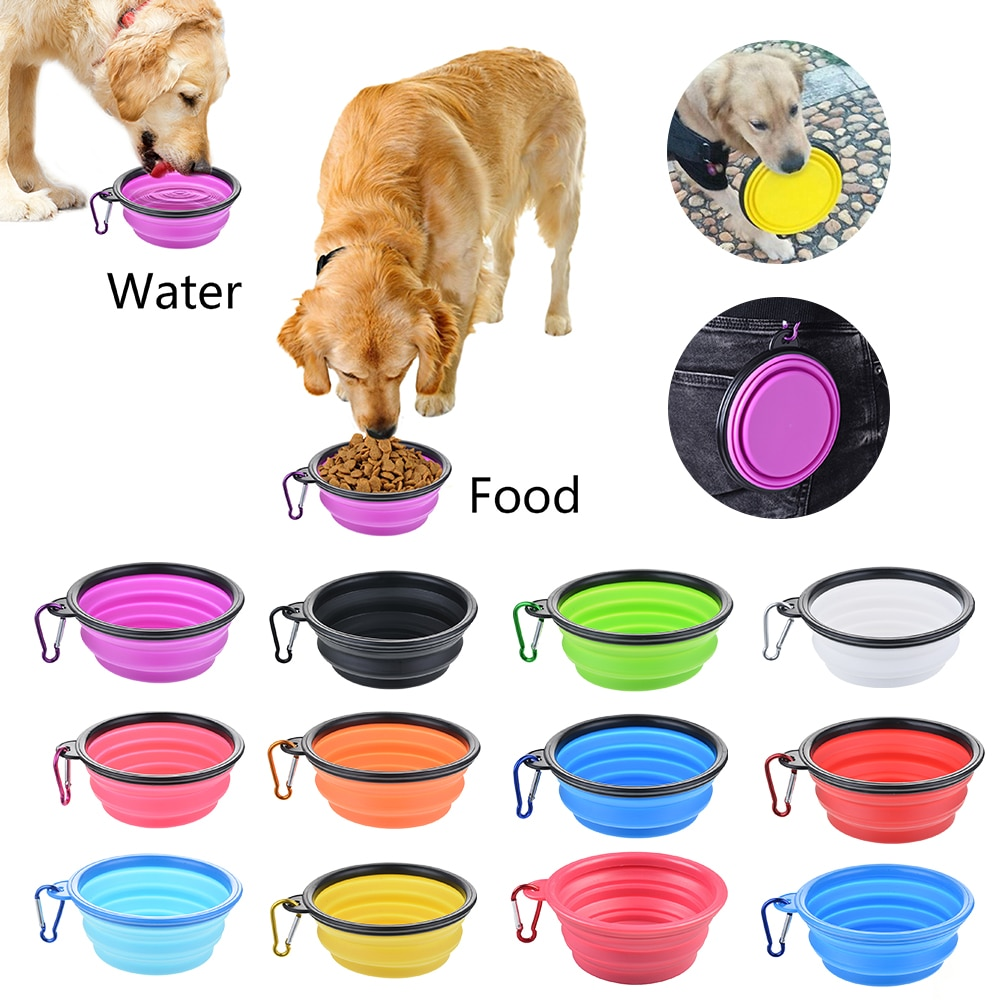 Dog Travel Silicone Bowl Portable Foldable Collapsible Pet Cat Dog Food Water Container Travel Outdoor Bowl Dog Feeder Supplies