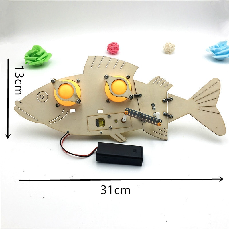 STEM Toys for Children Educational Science Experiment Technology Set DIY Electric Mechanical Fish Model Puzzle Painted Kids Toy