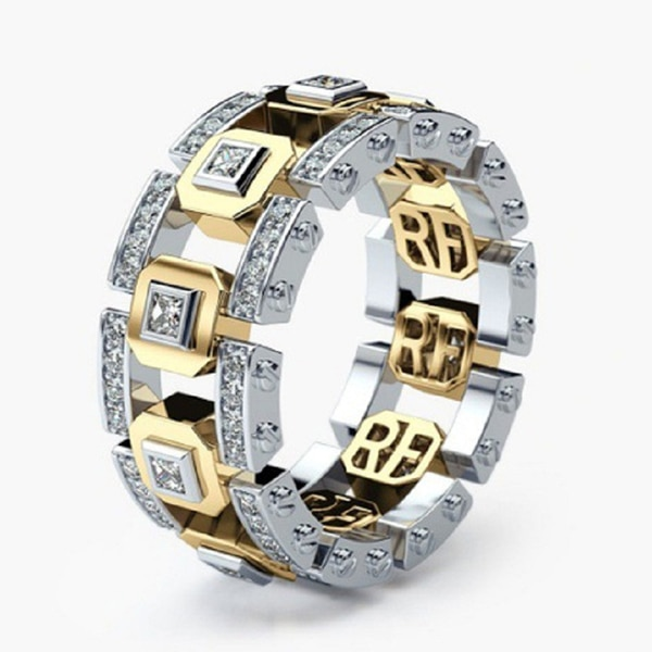 Fashion Lovers Howllow Crystal Rings With Two Color Plated Copper Technology Women Accessories Jewelry Ring For Party