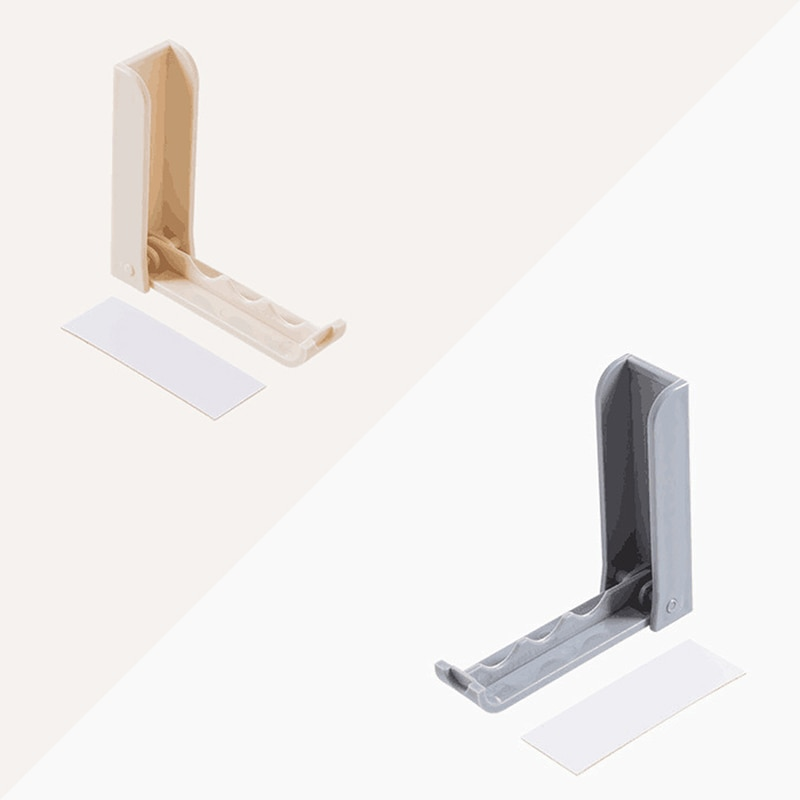 1pc 2 Colors Gray Apricot Foldable Door Hook Household Invisible Coat Storage Holder Wall Hanger For Cloth Household Items