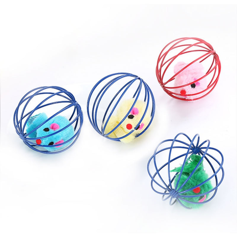 Cat Toy Pet Rainbow Ball Spring Prison Cage Mouse Telescopic Wire Interactive Stick Bell Feather Play Toy Dog Color Pet Supplies
